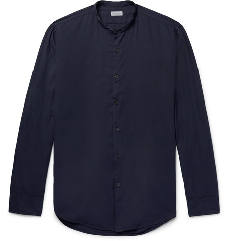 Grandad Collar Cotton Twill Shirt by Dries Van Noten