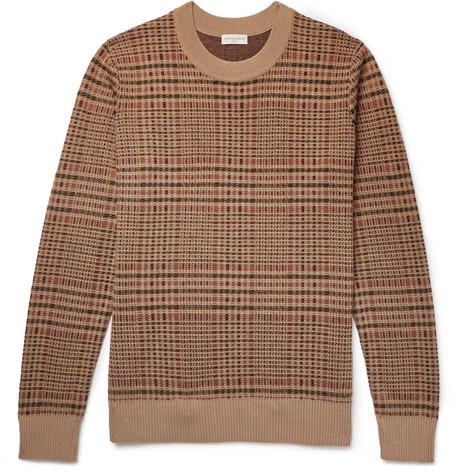 Checked Merino Wool Blend Sweater by Dries Van Noten