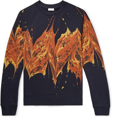 Printed Loopback Cotton Jersey Sweatshirt by Dries Van Noten
