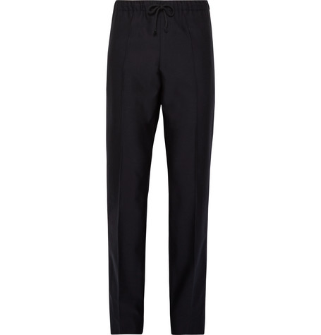 Slim Fit Wool And Cotton Blend Drawstring Trousers by Dries Van Noten
