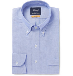 Drake's Blue Button-Down Collar Cotton Oxford Shirt