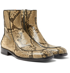 Dries Van Noten Leather-Trimmed Snake-Effect Leather Boots