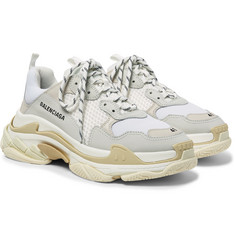 Balenciaga - Triple S Nubuck, Leather and Mesh Sneakers