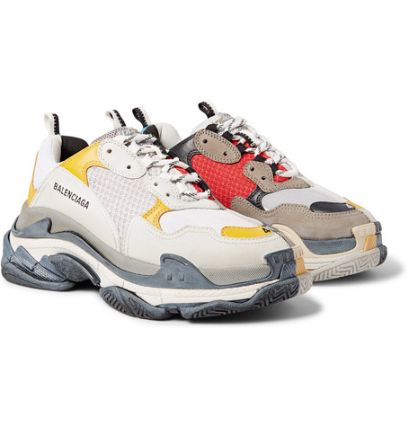 Triple S Split Mesh, Nubuck And Leather Sneakers by Balenciaga