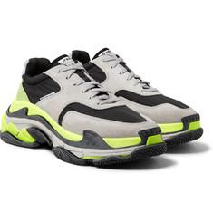 [무료배송, 관부가세 포함] 18 F/W 발렌시아가 트리플S 남성용 라이트그레이 Balenciaga Triple S Nylon, Suede and Leather Sneakers,Light gray