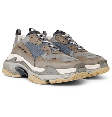 Balenciaga – Triple S Mesh, Nubuck And Leather Sneakers – Gray