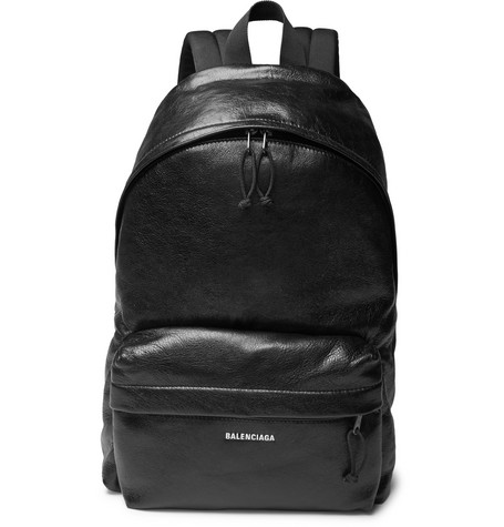 Explorer Arena Logo Print Creased Leather Backpack by Balenciaga