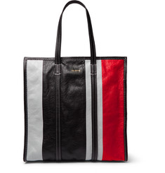 Balenciaga Bazaar Arena Striped Creased-Leather Tote Bag