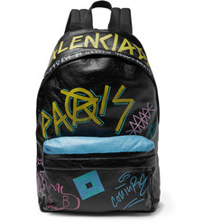 Balenciaga - Arena Graffiti-Printed Creased-Leather Backpack