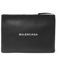 Balenciaga Logo-Print Creased-Leather Pouch