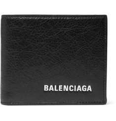 Balenciaga Arena Logo-Print Creased-Leather Billfold Wallet