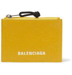 Balenciaga Arena Logo-Print Creased-Leather Zipped Cardholder