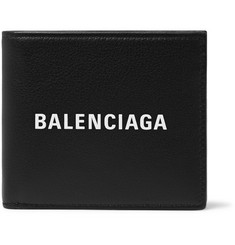 Balenciaga Logo-Print Full-Grain Leather Billfold Wallet