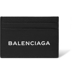 Balenciaga Logo-Print Textured-Leather Cardholder
