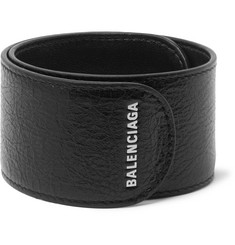 Balenciaga Logo-Print Textured-Leather Snap Bracelet