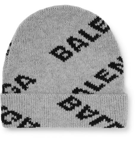 Logo Intarsia Virgin Wool Blend Beanie by Balenciaga