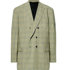 Balenciaga - Green Oversized Double-Breasted Checked Virgin Wool Blazer
