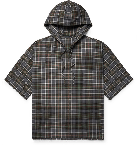 Oversized Checked Cotton Flannel Zip Up Hoodie by Balenciaga