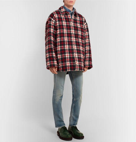 Oversized Quilted Checked Cotton Flannel Coat by Balenciaga