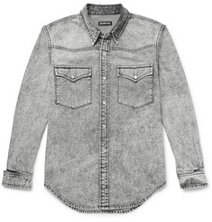 Balenciaga Distressed Acid-Washed Denim Western Shirt