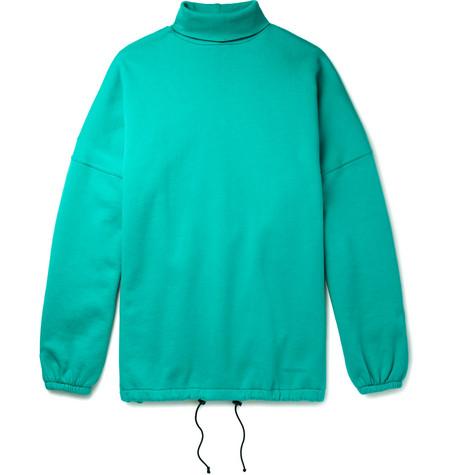 Oversized Fleece Back Cotton Blend Jersey Rollneck Sweatshirt by Balenciaga