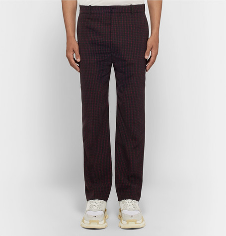Slim Fit Checked Twill Trousers by Balenciaga