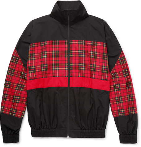 Panelled Checked Cotton-poplin Track Jacket