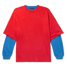 Balenciaga Oversized Layered Two-Tone Cotton-Jersey T-Shirt