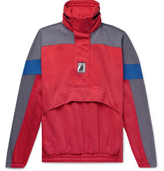Balenciaga Oversized Colour-Block Cotton-Blend Jersey Half-Zip Hoodie
