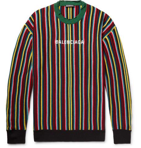 Balenciaga – Oversized Distressed Logo-intarsia Virgin Wool-blend Sweater – Multi