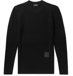 Balenciaga Slim-Fit Logo-Appliquéd Ribbed Wool Sweater