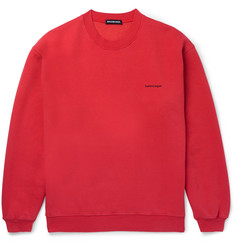 Balenciaga Oversized Logo-Print Fleece-Back Cotton-Blend Jersey Sweatshirt