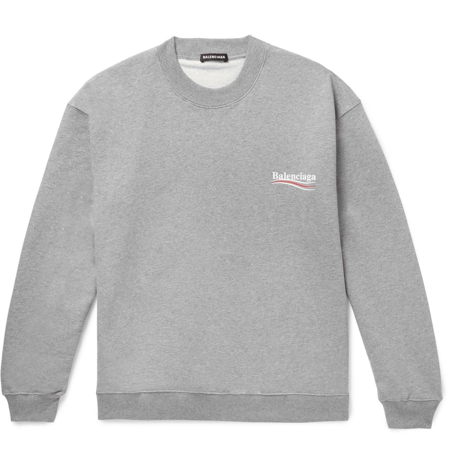 1f4df60769e8 BalenciagaOversized Logo-Print Mélange Loopback Cotton-Jersey Sweatshirt