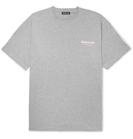 fa244addd5e5 Balenciaga - Oversized Logo-Print Mélange Cotton-Jersey T-Shirt