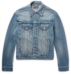 Balenciaga - Cropped Embroidered Distressed Denim Jacket