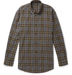 Balenciaga Oversized Logo-Print Checked Cotton-Flannel Shirt