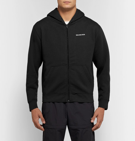 Slim Fit Logo Print Fleece Back Cotton Blend Jersey Zip Up Hoodie by Balenciaga