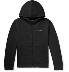 Balenciaga Slim-Fit Logo-Print Fleece-Back Cotton-Blend Jersey Zip-Up Hoodie