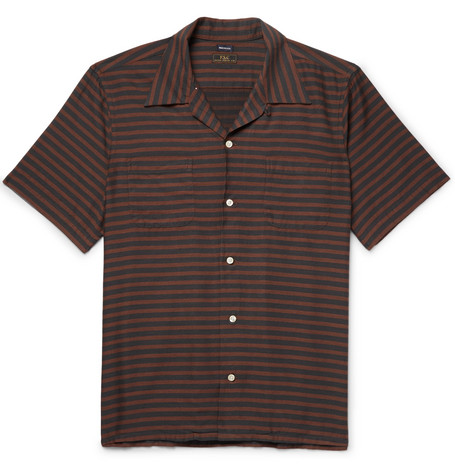FREEMANS SPORTING CLUB Camp-Collar Striped Cotton-Blend Twill Shirt in Brown