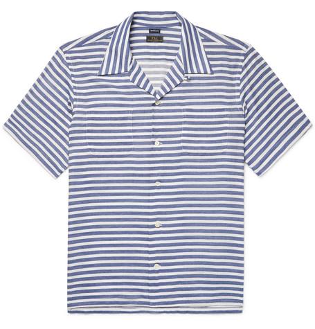 FREEMANS SPORTING CLUB Camp-Collar Striped Cotton-Blend Twill Shirt in Blue