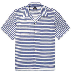 Freemans Sporting Club Camp-Collar Striped Cotton-Blend Twill Shirt