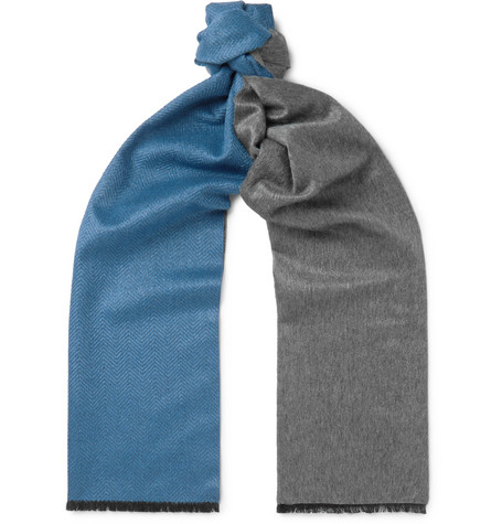 Two-tone Chevron Mulberry Silk And Cashmere-blend Scarf