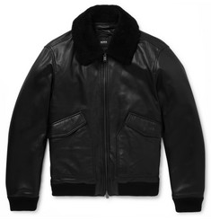 Hugo Boss Shearling-Trimmed Leather Aviator Jacket
