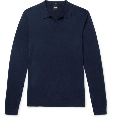 Slim-fit Wool, Cotton And Cashmere-blend Polo Shirt