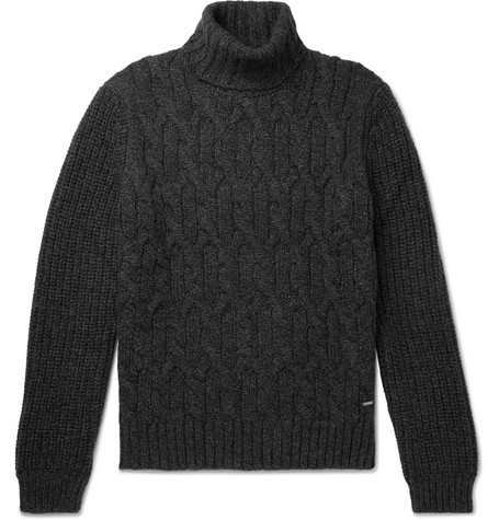 Hugo Boss Cable-knit Wool And Alpaca-blend Rollneck Sweater - Charcoal