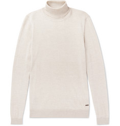 Hugo Boss Slim-Fit Mélange Virgin Wool Rollneck Sweater