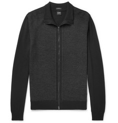 Hugo Boss Textured Virgin Wool Zip-Up Cardigan