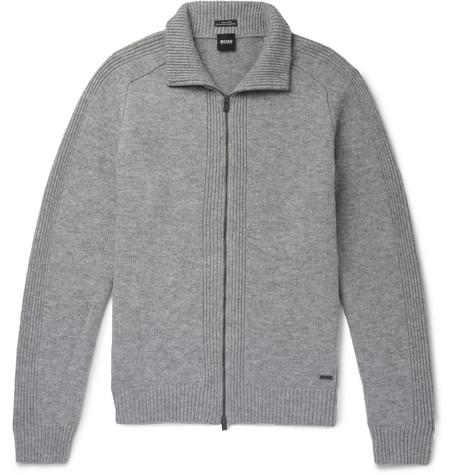 Hugo Boss Wool Zip-up Sweater In Gray