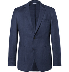 Hugo Boss Blue Hooper Slim-Fit Unstructured Mélange Virgin Wool-Flannel Suit Jacket