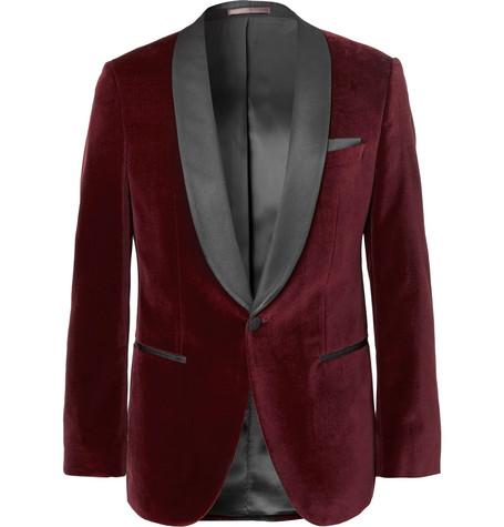 c092c8513 Shoptagr   Burgundy Hockley Slim Fit Satin Trimmed Cotton Velvet ...